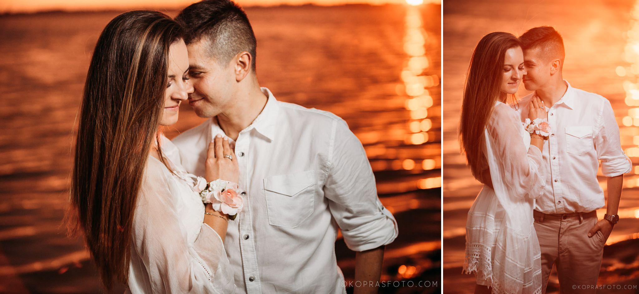 romantyczna sesja narzeczeńska, piękne zdjęcia, kreatywna fotografia, zbiornik jeziorsko, zachód słońca,
