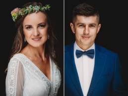 Portret ślubny, fotografia ślubna, para młoda na pięknej fotografii